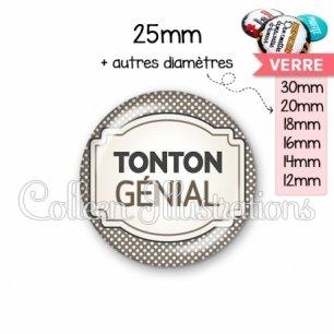 Cabochon en verre Tonton génial (013GRI01)