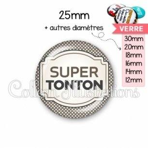 Cabochon en verre Super tonton (013GRI01)
