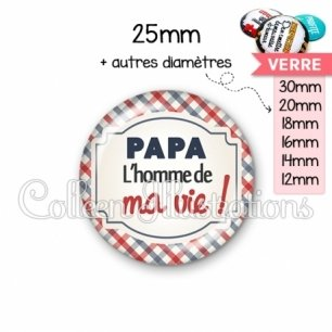 Cabochon en verre Papa l'homme de ma vie (013MUL01)