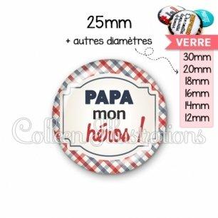 Cabochon en verre Papa mon héros (013MUL01)