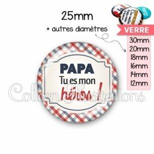 Cabochon en verre Papa tu es mon héros (013MUL01)