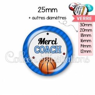 Cabochon en verre Merci coach (016BLE01)
