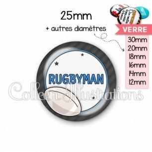 Cabochon en verre Rugbyman (016GRI05)