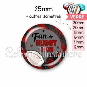 Cabochon en verre Fan de rugby à XIII (016MUL04)
