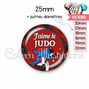 Cabochon en verre J'aime le judo (016MUL13)