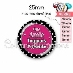 Cabochon en verre Amie toujours présente (016NOI01)