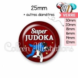 Cabochon en verre Super judoka (016ROU02)