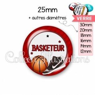 Cabochon en verre Basketteur (016ROU04)