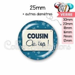 Cabochon en verre Cousin au top (018BLE01)