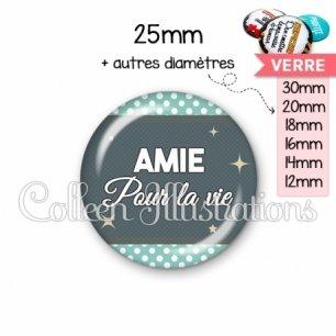 Cabochon en verre Amie pour la vie (019BLE06)