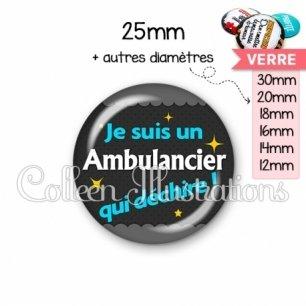 Cabochon en verre Ambulancier qui déchire (019GRI01)
