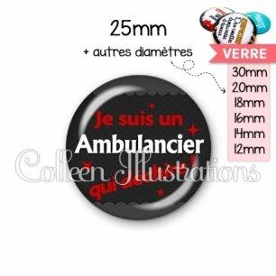 Cabochon en verre Ambulancier qui déchire (019GRI02)