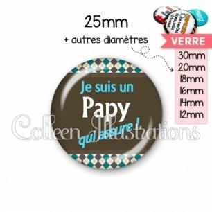 Cabochon en verre Papy qui assure (019MUL01)