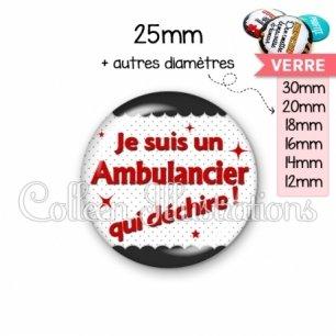 Cabochon en verre Ambulancier qui déchire (019NOI01)
