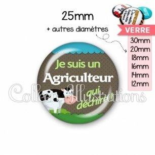 Cabochon en verre Agriculteur qui déchire (019VER01)