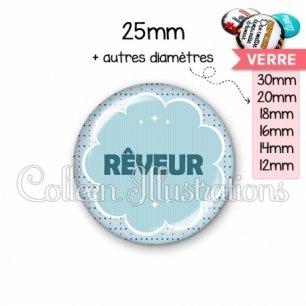 Cabochon en verre Rêveur (020BLE02)