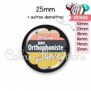 Cabochon en verre Orthophoniste qui déchire (020NOI08)