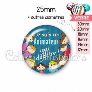 Cabochon en verre Animateur qui déchire (022BLE02)