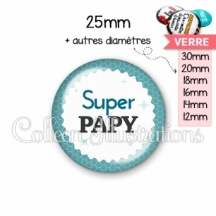 Cabochon en verre Super papy (028BLE02)