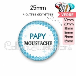 Cabochon en verre Papy moustache (028BLE03)