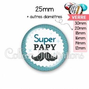 Cabochon en verre Super papy (028BLE04)