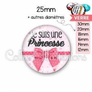 Cabochon en verre Je suis une princesse (029ROS01)