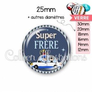 Cabochon en verre Super frère (031BLE01)