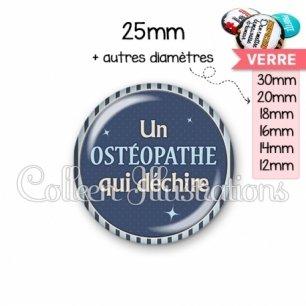 Cabochon en verre Osthéopathe qui déchire (031BLE07)