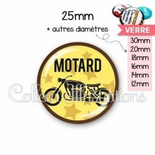 Cabochon en verre Motard (032JAU01)