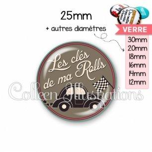 Cabochon en verre Les clés de ma rolls (032MAR01)