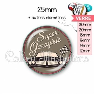 Cabochon en verre Super garagiste (032MAR02)