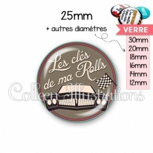 Cabochon en verre Les clés de ma rolls (032MAR02)