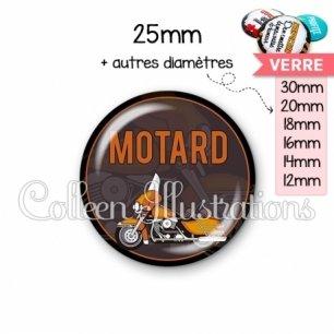Cabochon en verre Motard (032MAR03)
