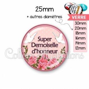 Cabochon en verre Super demoiselle d'honneur (032ROS01)