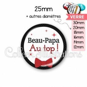 Cabochon en verre Beau-papa au top (036NOI01)