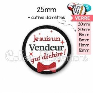 Cabochon en verre Vendeur qui déchire (036NOI01)