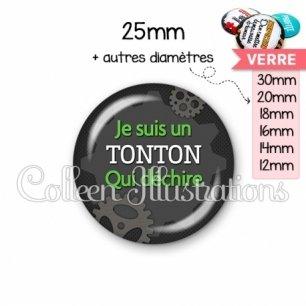 Cabochon en verre Tonton qui déchire (038GRI01)