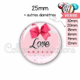 Cabochon en verre Love (039ROS02)
