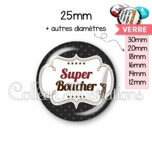 Cabochon en verre Super boucher (045NOI01)