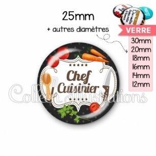 Cabochon en verre Chef cuisinier (045NOI04)