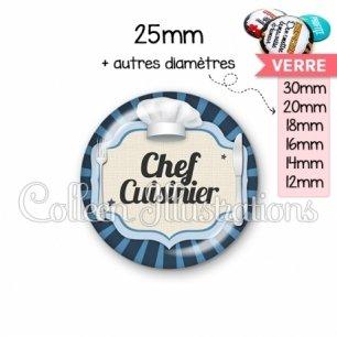 Cabochon en verre Chef cuisinier (048BLE01)