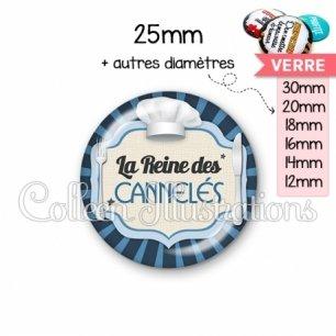 Cabochon en verre La reine des cannelés (048BLE01)