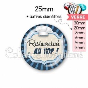 Cabochon en verre Restaurateur au top (048BLE01)