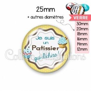 Cabochon en verre Patissier qui déchire (049JAU01)