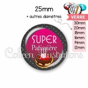 Cabochon en verre Super patissière (050GRI01)