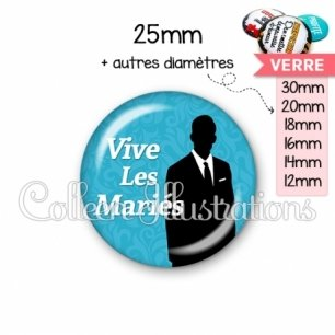 Cabochon en verre Vive les mariés (051BLE01)