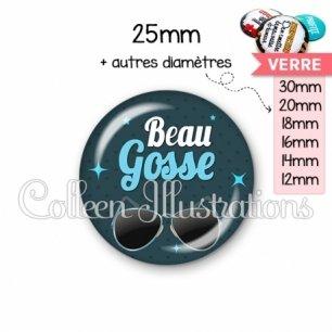 Cabochon en verre Beau gosse (053BLE01)