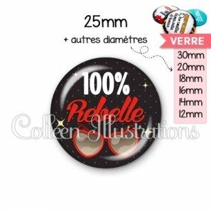 Cabochon en verre 100% rebelle (053NOI01)
