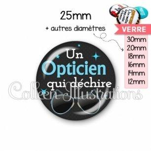 Cabochon en verre Opticien qui déchire (053NOI04)