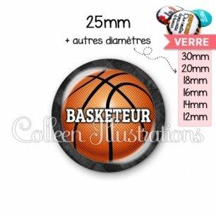 Cabochon en verre Basketteur (062GRI01)